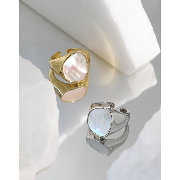 Mother Of Pearl 925 Silver Ring Size 6 For Womens Girls, Rhodium & Yellow Gold Plated Jewelry