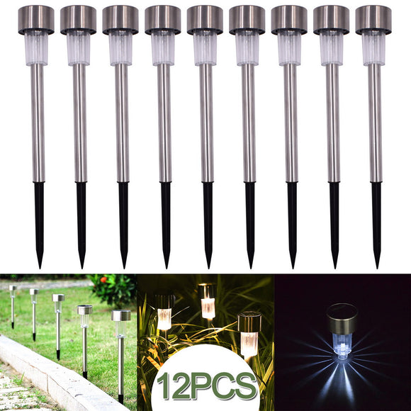 12 pcs Garden Outdoor Stainless Steel LED Solar Landscape Street Lamp Courtyard Lamp White Ligh