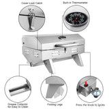 ZOKOP TG-5U Stainless Steel Gas Grill, Single Burner Portable Tabletop Grill