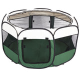 "45"" Portable Foldable 600D Oxford Cloth & Mesh Pet Playpen Fence with Eight Panels Green"