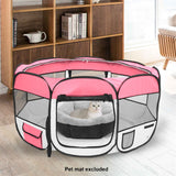 "36"" Portable Foldable 600D Oxford Cloth & Mesh Pet Playpen Fence with Eight Panels Pink"