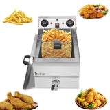 [Upgrade 2] [US Standard] ZOKOP EH101V 8.5QT/8L Total Capacity 12.5qt/11.8l Stainless Steel Faucet Single Tank Deep Fryer 1700W