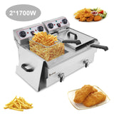 [Upgrade 2] [US Stardard] ZOKOP EH102V 16.9QT / 16L Total Capacity 24.9QT/23.6L Stainless Steel Faucet Double Tank Deep Fryer 3400W