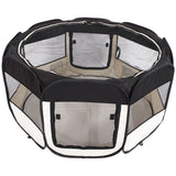 "45"" Portable Foldable 600D Oxford Cloth & Mesh Pet Playpen Fence with Eight Panels Black"
