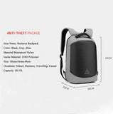 Mens Laptop Business Backpack Anti Theft Bag With USB Charging Port Lock