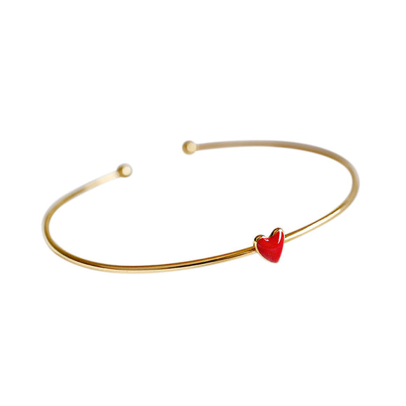 925 Sterling Silver Jewelry Fashion Enamel Heart Gold Plated Bracelet Bangle