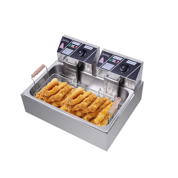 [UK Standard] ZOKOP Eh83O 220-240V  23.26Qt/22L Stainless Steel Large Single-Cylinder Electric Fryer