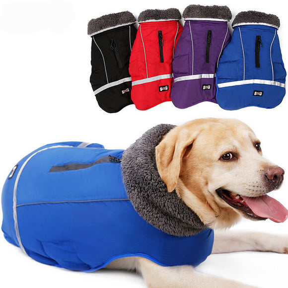 Dog Thickened Winter Jacket Vest Pet Winter Coat with Furry Collar Warm Apparel