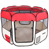 "36"" Portable Foldable 600D Oxford Cloth & Mesh Pet Playpen Fence with Eight Panels Red"