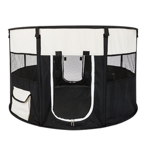 "40"" Circular Portable Foldable 600D Oxford Cloth & Mesh Pet Playpen Fence with Eight Panels"