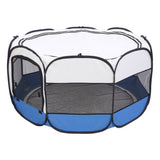 "45"" Portable Foldable 600D Oxford Cloth & Mesh Pet Playpen Fence with Eight Panels Blue"