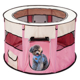 "40 ""Portable Foldable 600D Oxford 8-Side Round Pet Fence Tent with Top and Bottom Zipper Customized Pink"