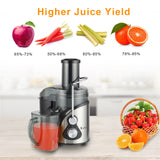 ZOKOP [US Standard] ALW-J09 110V 800W 85MM Large Diameter 1000Ml Juice Cup 1500Ml Pomace Cup Third Gear Electric Juicer Stainless Steel Black