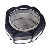"36"" Portable Foldable 600D Oxford Cloth & Mesh Pet Playpen Fence with Eight Panels Black"
