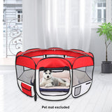 "45"" Portable Foldable 600D Oxford Cloth & Mesh Pet Playpen Fence with Eight Panels Red"