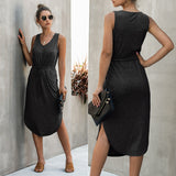 Womens Clothing Summer Fashion Leisure Pure Color V Neck Long Vest Dress