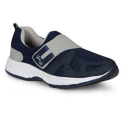 Men Navy Blue Grey Self Design Sports Running Shoes