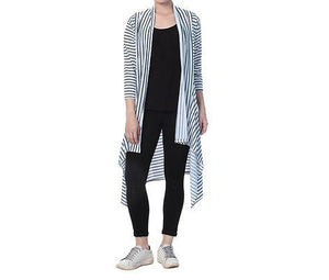 White Cotton Striped Long Length Shrug