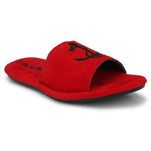 Men Red Anchor Sliders/Flip Flops/Slippers for Daily Casual Wear