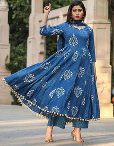 Stylish Blue Cotton Pom Pom Kurti And Palazzo With Duptta