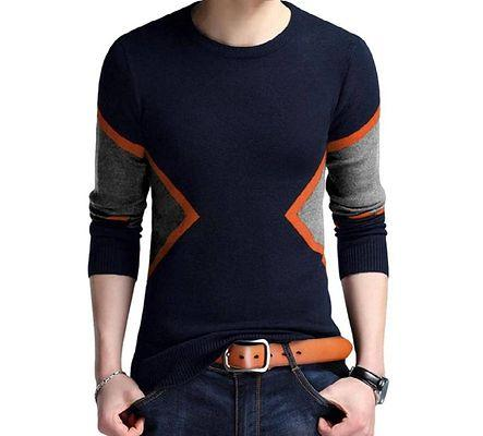 Men's Multicoloured Cotton Blend Self Pattern Round Neck Tees