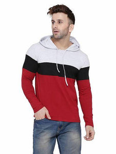 Maroon Colourblocked Cotton Hooded Men's T Shirt
