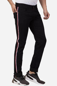 Men Black Cotton Stretchable Solid Slim Fit Jeans with Lace Stripe