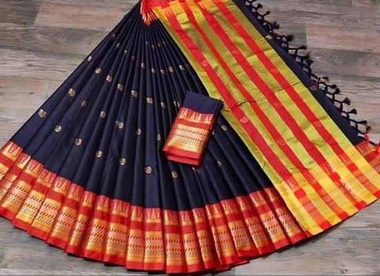 Women Beautiful Multicolored Mysore Silk Saree with Blouse piece