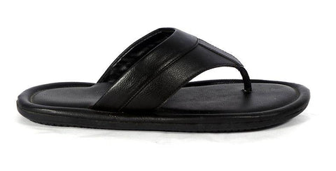Men's Black Solid Synthetic Leather Slip-On Slippers