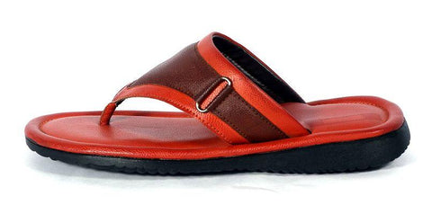 Men's Multicoloured Self Design Synthetic Leather Slip-On Slippers