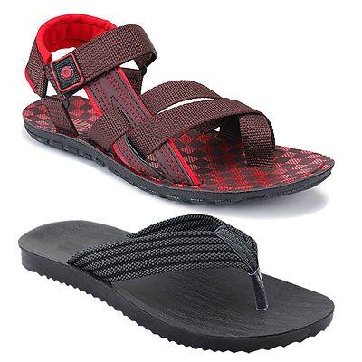 Men's Stylish and Trendy Multicoloured Solid Canvas Casual Sandals and Floaters (Pack of 2)