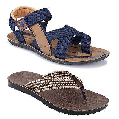 Men's Stylish and Trendy Multicoloured Solid Synthetic Casual Sandals and Floaters (Pack of 2)