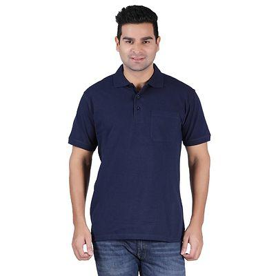 Men's Navy Blue Cotton Solid Polos T-Shirts