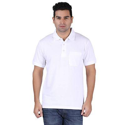 Men's White Cotton Solid Polos T-Shirts