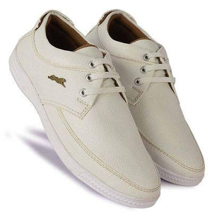 Men's Stylish and Trendy White Solid Synthetic Casual Sneakers