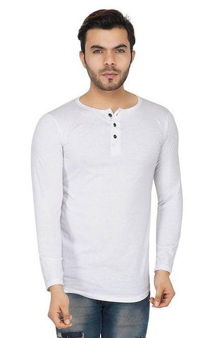 Men's White Cotton Solid Henley Neck T-Shirt