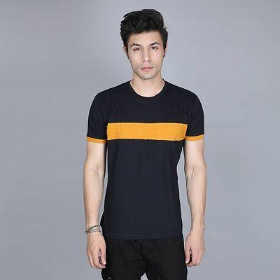 Men's Black Cotton Colourblocked Round Neck Tees