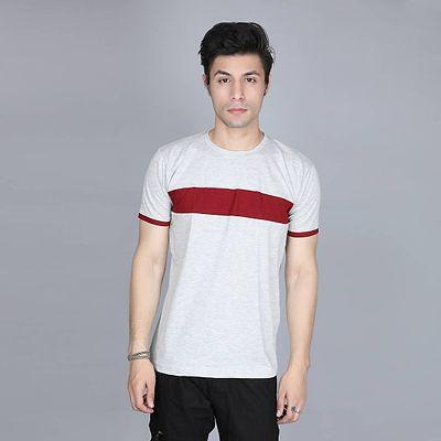 Men's Grey Cotton Colourblocked Round Neck Tees