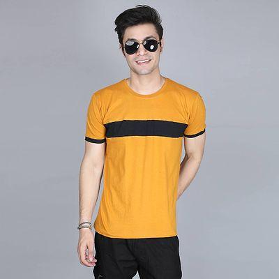 Men's Yellow Cotton Colourblocked Round Neck Tees