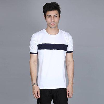 Men's White Cotton Colourblocked Round Neck Tees