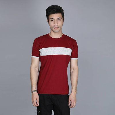 Men's Red Cotton Colourblocked Round Neck Tees
