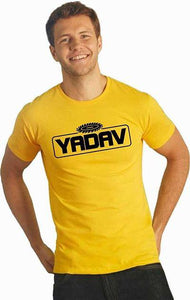 Stylish Cotton Yellow Printed Round Neck Half Sleeves T-shirt For Men