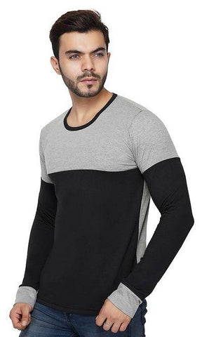 Men's Colourblocked Cotton Round Neck T-Shirt
