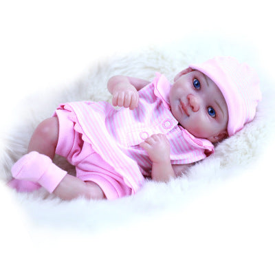 Juliet: Pink Suit 10 Inches Full Body Silicone Realistic Mini Baby Doll Girl - Kiss Reborn