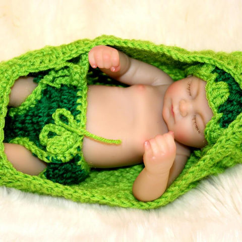 "Carter: 10"" Mini baby Boy Doll in Green Cradle - Kiss Reborn"