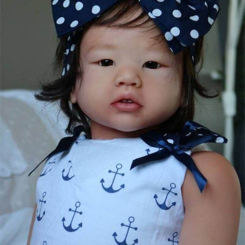 Edda: Asian Style Cute Hair Band Open Mouth Reborn Toddler Doll Girl - Kiss Reborn
