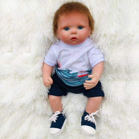 "Emmett: 15"" Sapphire Blue Eyes Destiny Reborn Baby Doll Boy - Kiss Reborn"