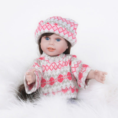 "Janice: 12"" Brown Long Hair Life-like Feel Mini Baby Doll Girl - Kiss Reborn"