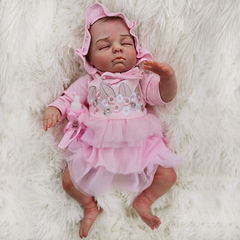 "Paula: 18"" Well-born Charming Sleeping Baby Doll Girl - Newborn Doll"