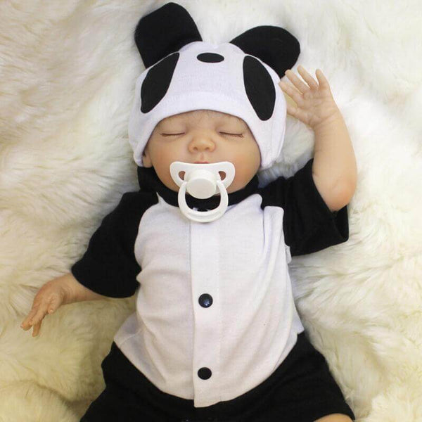 Levy: Panda Suit Sleeping Baby Doll Boy - Kiss Reborn